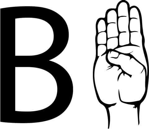 B clipart for coloring image royalty free library ASL Sign Language Letter B coloring page | Free Printable Coloring Pages image royalty free library