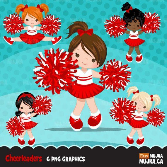 B ue and white cheerleader animated clipart