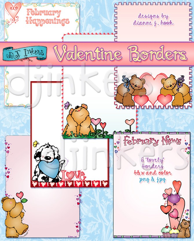 B & w clipart just a note svg transparent download Valentine clip art borders by DJ Inkers - DJ Inkers svg transparent download