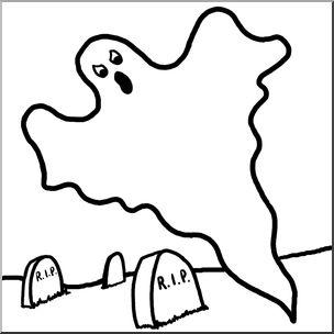 B & w ghost clipart clip transparent Clip Art: Ghost in Cemetery B&W I abcteach.com | abcteach clip transparent