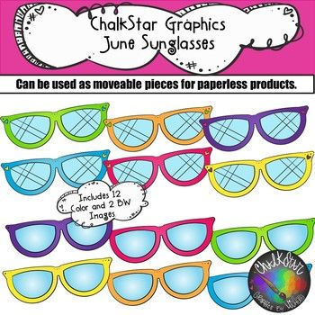 B & w sunglasses clipart picture royalty free Sunglasses June Clip Art –Chalkstar Graphics | ChalkStar Graphics ... picture royalty free