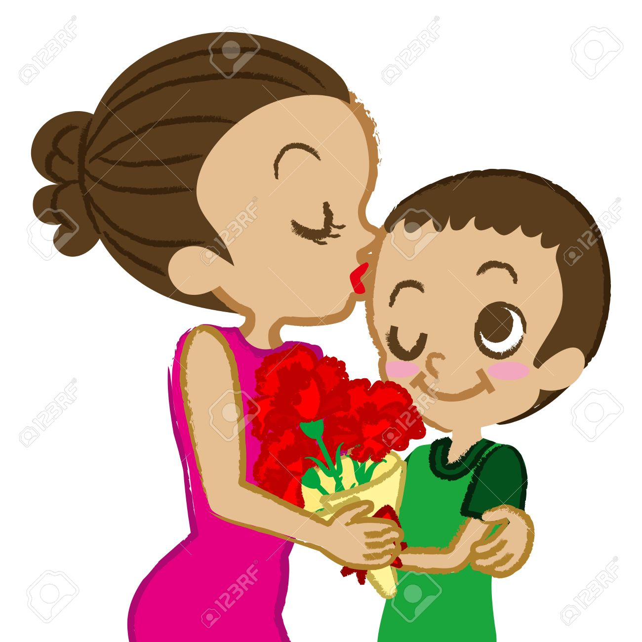 Madre clipart picture black and white Mother Kissing Baby Clipart picture black and white