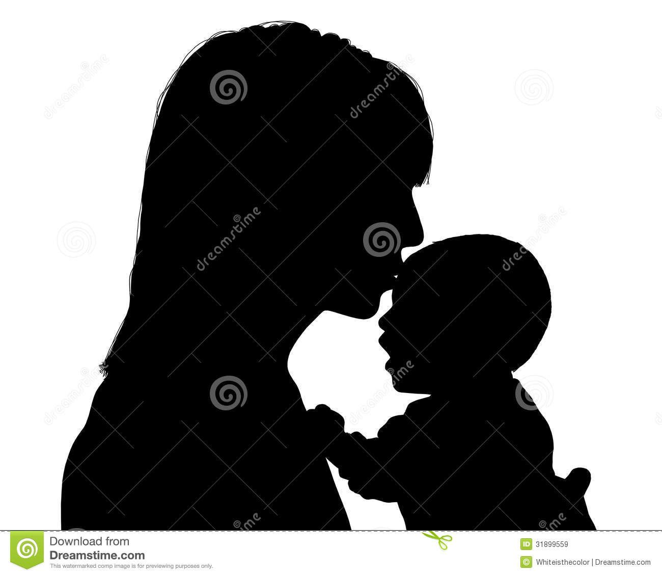 Babies with kisses clipart clip art transparent stock Mother Kissing Her Newborn Child Silhouette Royalty Free Stock ... clip art transparent stock