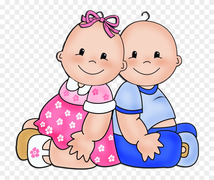 Twin baby boy clipart