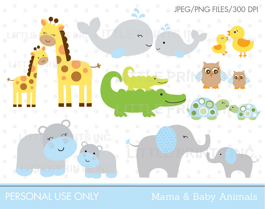 Baby animal and mama clipart - ClipartFest svg library stock