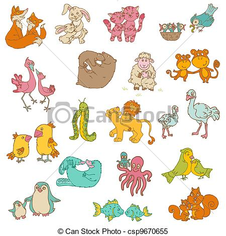 Mother and baby animal clipart - ClipartFox image black and white stock