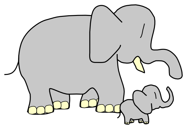 Elephant baby and mom clipart png - ClipartFest vector black and white stock