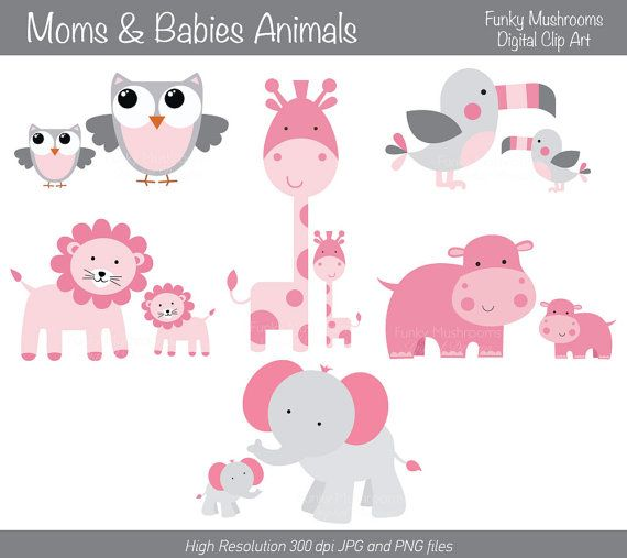 Mom And Baby Animal Clipart - Clipart Kid black and white library