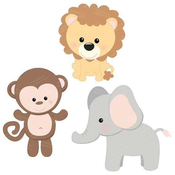 Baby animal clipart graphic transparent library Professional Baby Jungle Animals Clipart & Vector Set - Baby Shower ... graphic transparent library