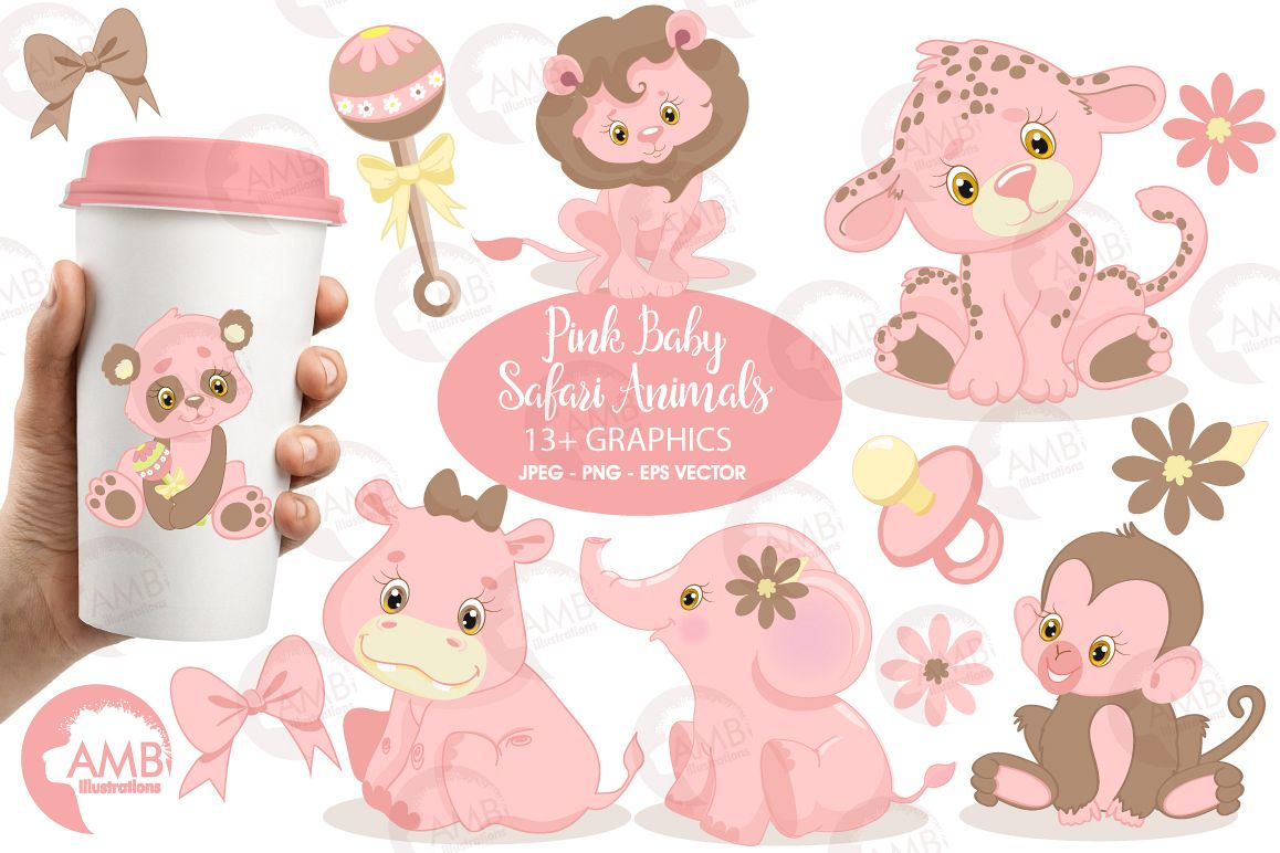Baby girl jungle animals clipart clipart transparent library Pink Safari Baby Animals clipart, graphics, illustrations AMB-1209 clipart transparent library