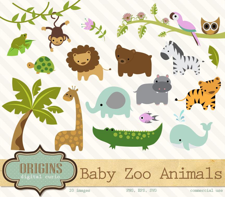 Vector clipart set animals clipart transparent Baby Zoo Animals Clipart - PNG and Vector Clip art Set - Jungle Forest  Animals Clipart clipart transparent