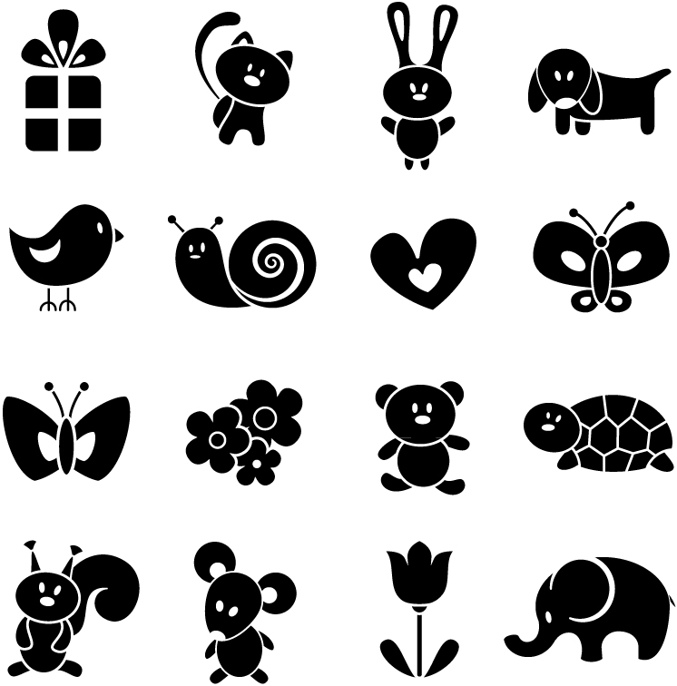 Baby animal silhouette clipart graphic royalty free stock 15 Animal Silhouette Vector Images - Free Cute Cartoon Animal ... graphic royalty free stock