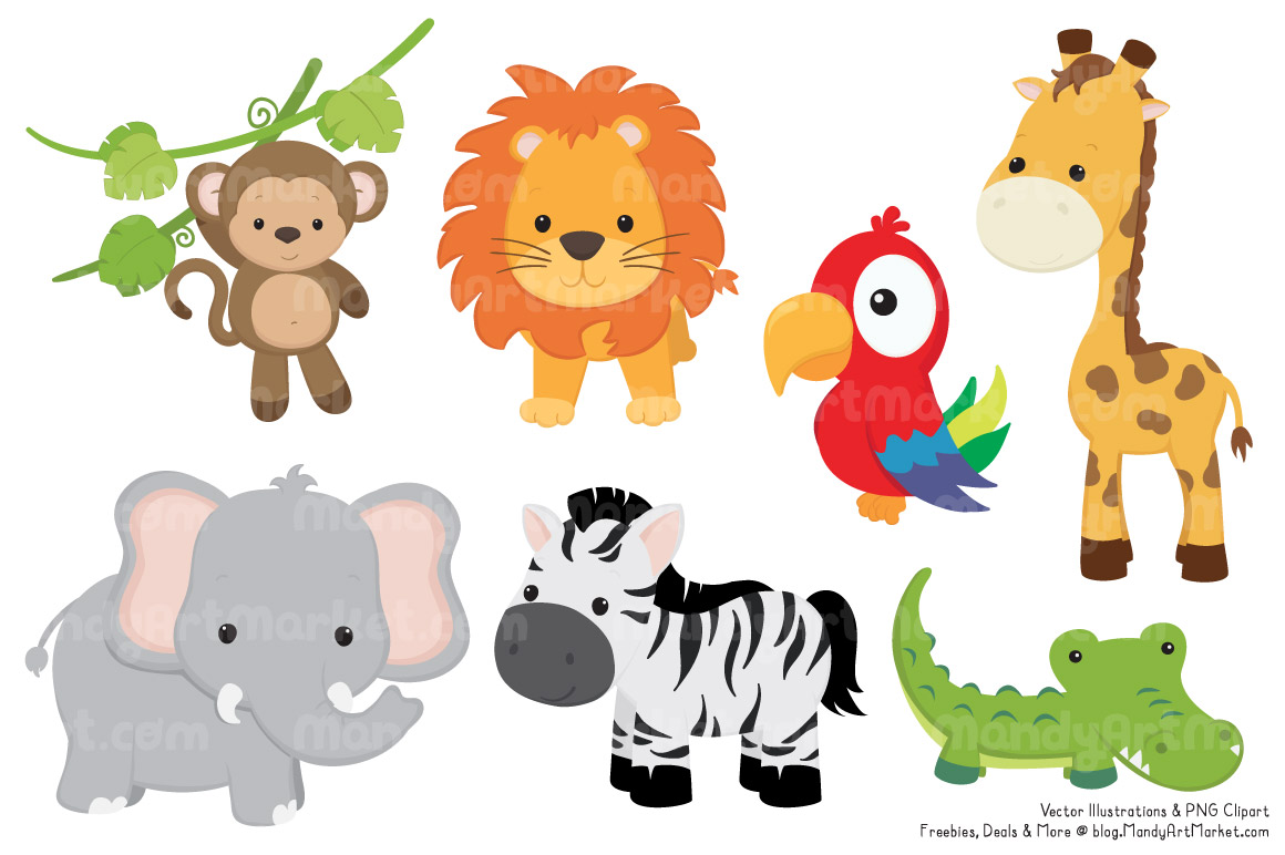 Baby safari group with. Free clipart of jungle animals