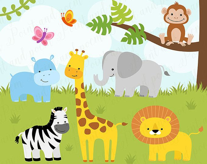 Baby animals playing clipart clip art library Jungle Clip Art, Jungle Digital Papers,Jungle Clipart,Jungle Animals ... clip art library