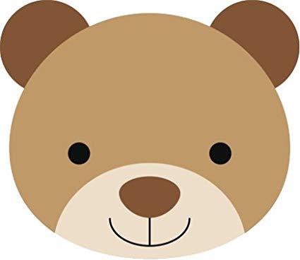 Baby bear clipart face image black and white Amazon.com: Cute Soft Baby Nursery Animal Cartoon Faces Vinyl Decal ... image black and white