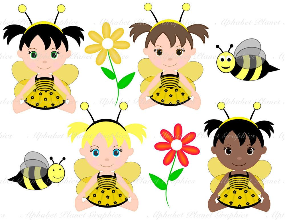 Baby bee girl clipart png black and white download Bumble bee honey bee baby girl african american caucasion digital ... png black and white download