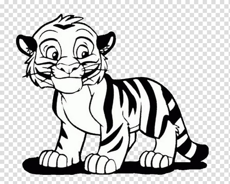 Baby bengal tiger clipart black and white png freeuse Bengal tiger Coloring book Lion Cuteness Child, tiger transparent ... png freeuse