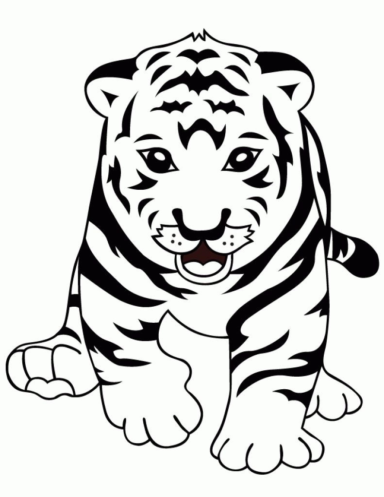 Baby bengal tiger clipart black and white clipart royalty free stock Curious Baby Tiger Coloring Page Cute | Animal Coloring Pages ... clipart royalty free stock