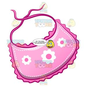 Baby bib cartoon clipart image A Cute Baby Bib With Floral Print image