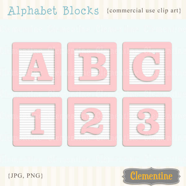 Pink clip art images. Baby blocks alphabet clipart
