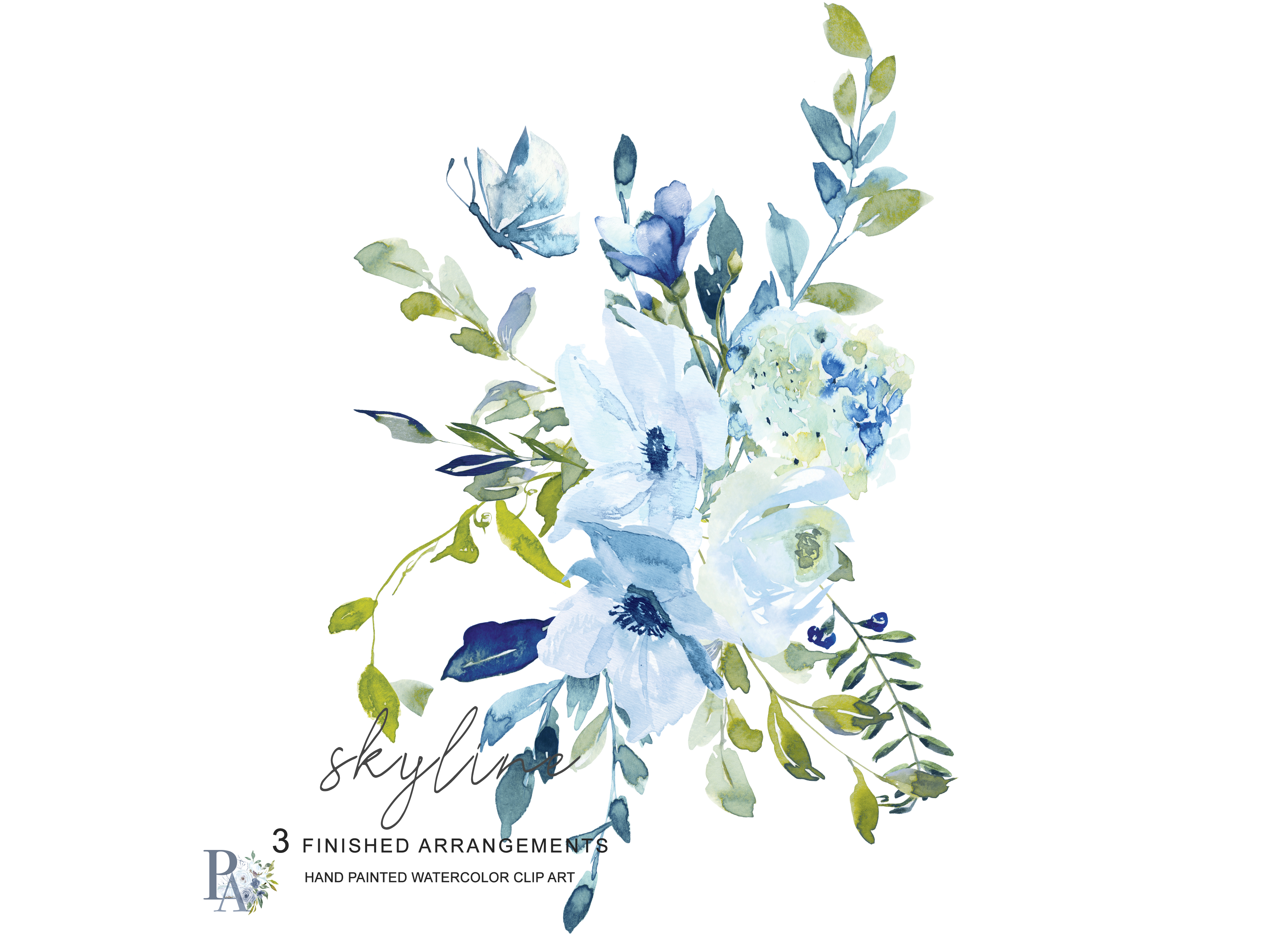 Baby blue bouquet clipart clip freeuse library Hand Painted Watercolor Light Blue and Green Florals Clipart clip freeuse library