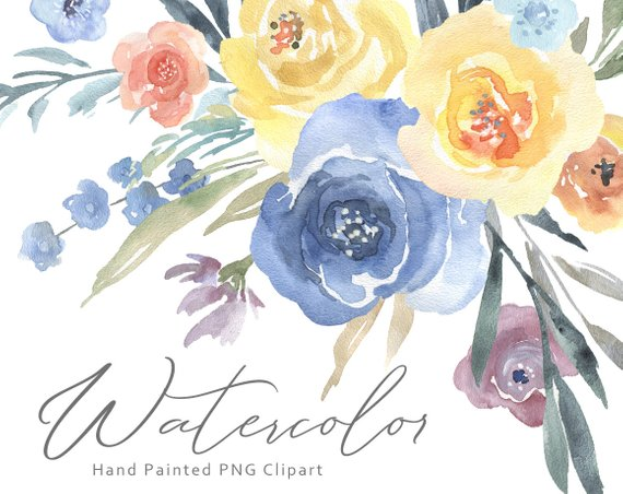 Baby blue bouquet clipart image royalty free download Watercolor Flowers Clipart Floral Clip Art Bouquets Light Blue ... image royalty free download