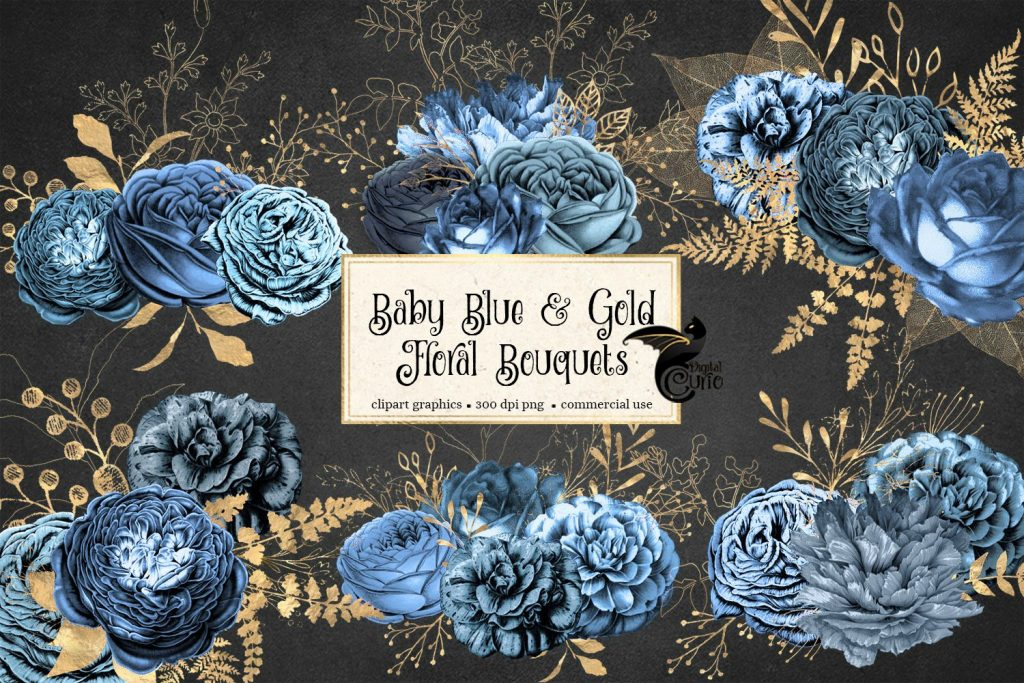 Baby blue bouquet clipart clip black and white Baby Blue and Gold Floral Bouquets Clipart clip black and white