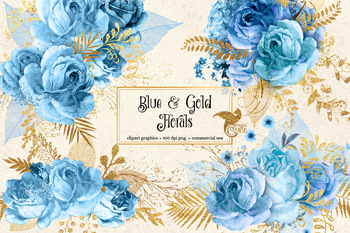 Baby blue bouquet clipart vector library stock Blue and Gold Floral Clipart, watercolor glitter bouquets png graphics vector library stock