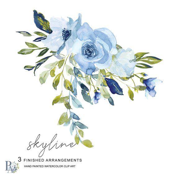 Baby blue bouquet clipart banner transparent download Hand Painted Watercolor Light Blue and Green Florals - Arrangements ... banner transparent download