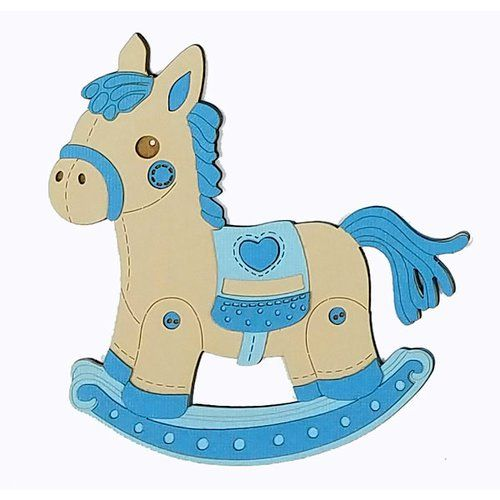 Baby blue rocking horse clipart svg royalty free stock Paper Wizard Blue Rocking Horse Die Cuts | Scrapbooking | Horse baby ... svg royalty free stock
