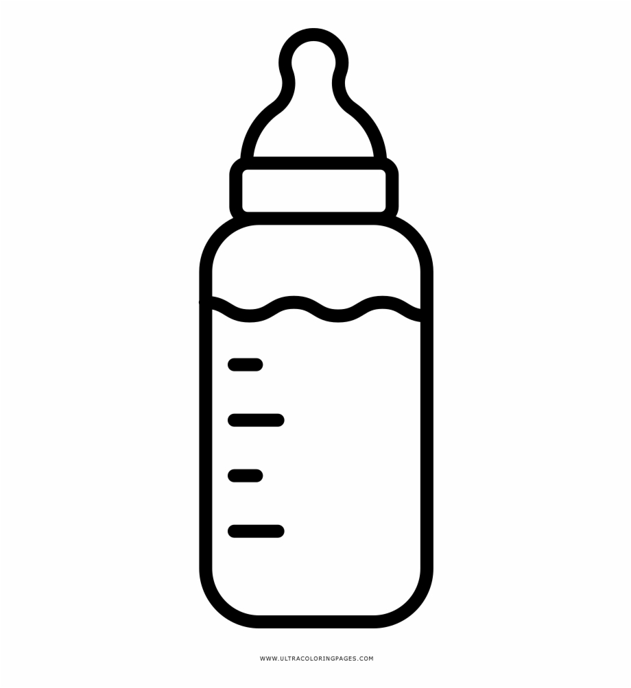 Baby bottle black and white clipart vector transparent Beer Bottle Clip Art Black And White - Baby Bottle Coloring Page ... vector transparent