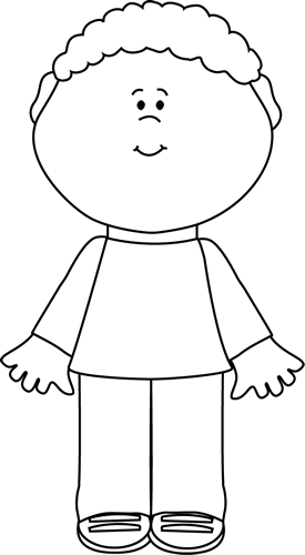 Black and white clipart 2 year old