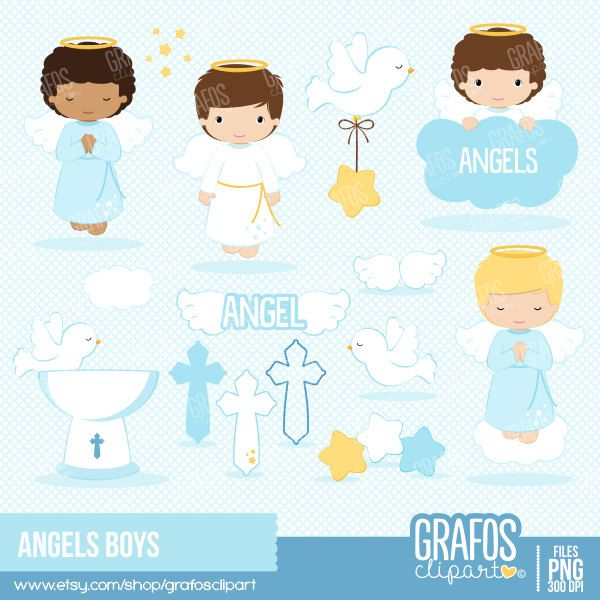 Christening images clipart banner transparent stock ANGELS BOYS Digital Clipart Set Angels Clipart Baptism | angel rocks ... banner transparent stock