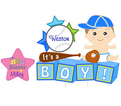 Baby boy birth announcement clipart svg transparent library Amazon.com : Cute News Custom Newborn Baby Boy Yard Sign Kit ... svg transparent library