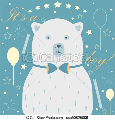 Baby boy birth announcement clipart free Baby Boy Birth announcement. Baby shower invitation card. Cute White Bear  announces the arrival of a baby boy. free
