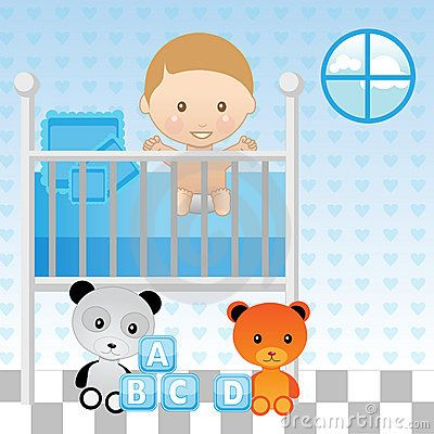Baby boy crib clipart graphic download Cartoon Baby Crib   Royalty Free Stock Photography: Baby Boy in Crib ... graphic download