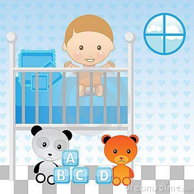 Baby boy crib clipart