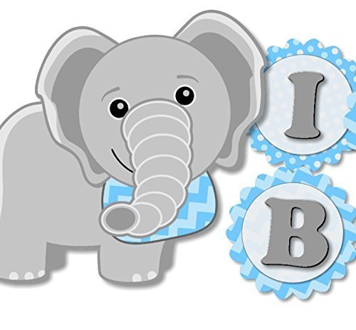 Baby boy elephant and letter l clipart free graphic library stock Blue Boy Elephant Baby Shower Banner Party Decoration Supplies for  Boy-\