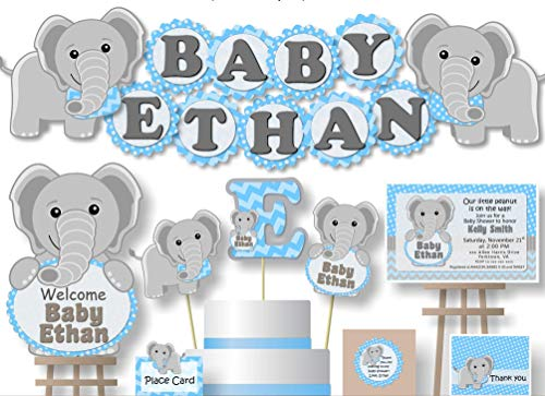 Baby boy elephant and letter l clipart free clip transparent stock Personalized Blue Elephant Baby Shower or Birthday Party Decorations for  Boy - Banner with Optional Cake Topper, Centerpiece, Sign, Favor Tags or ... clip transparent stock