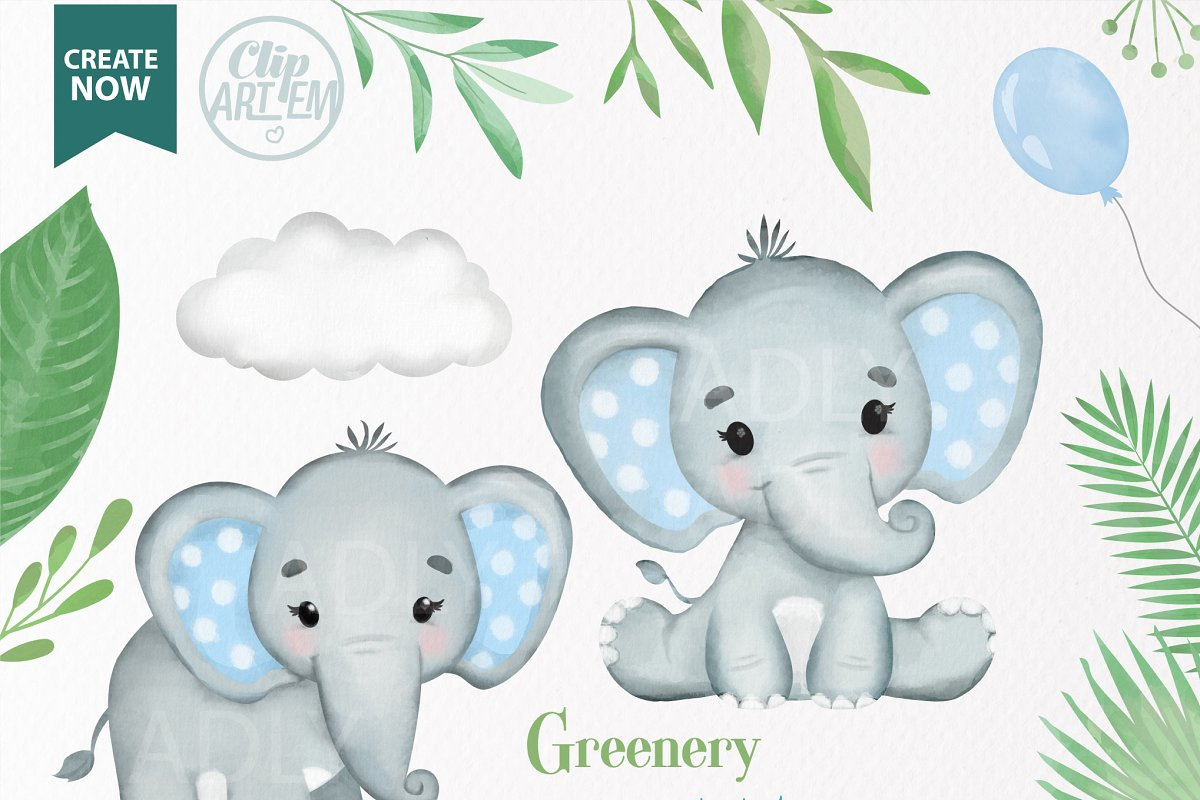 Clipart baby elephant images jpg free stock Blue Boy Baby Elephants collection jpg free stock