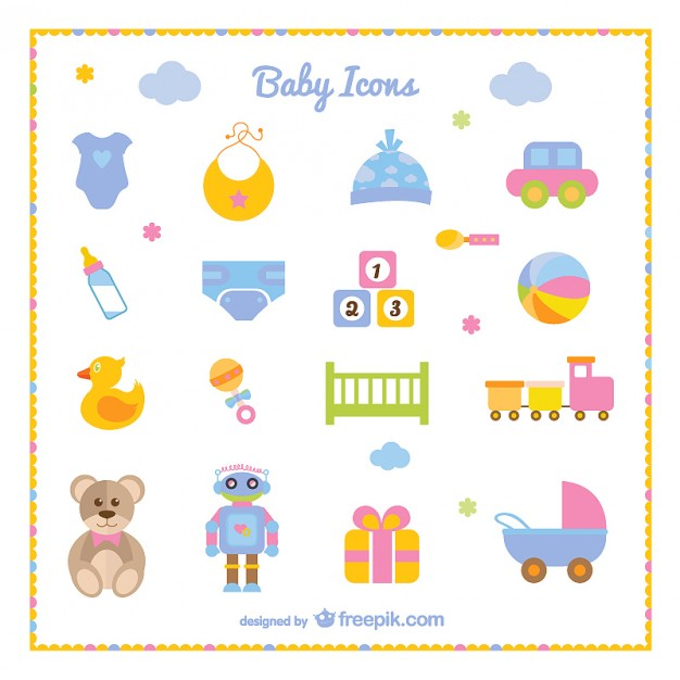 Baby boy icons clipart transparent Baby boy set of icons Vector | Free Download transparent