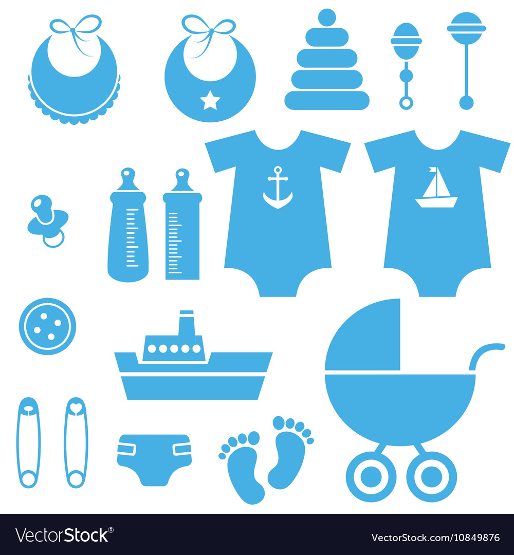 Baby boy icons clipart banner library library Set of baby boy elements icons banner library library