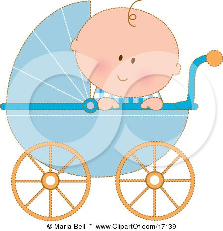 Baby boy in stroller clipart clipart black and white Caucasian Baby Boy In A Blue Stroller Carriage, Looking Over The ... clipart black and white