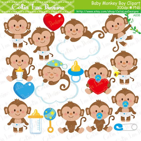 Baby boy monkey clipart picture royalty free download Baby Monkey Clipart, Cute Monkey Baby Boy Clipart | Products | Clip ... picture royalty free download