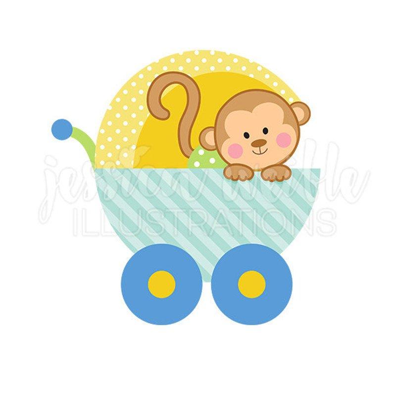 Baby boy monkey clipart jpg freeuse Baby Boy Monkey Carriage Cute Digital Clipart Clip Art Graphics In ... jpg freeuse