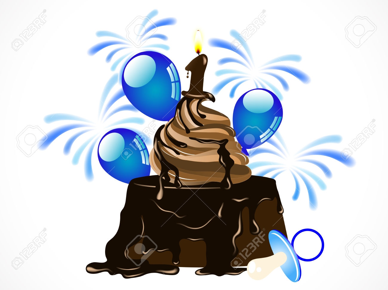 Baby boy number 1 clipart. Birthday chocolate cake with