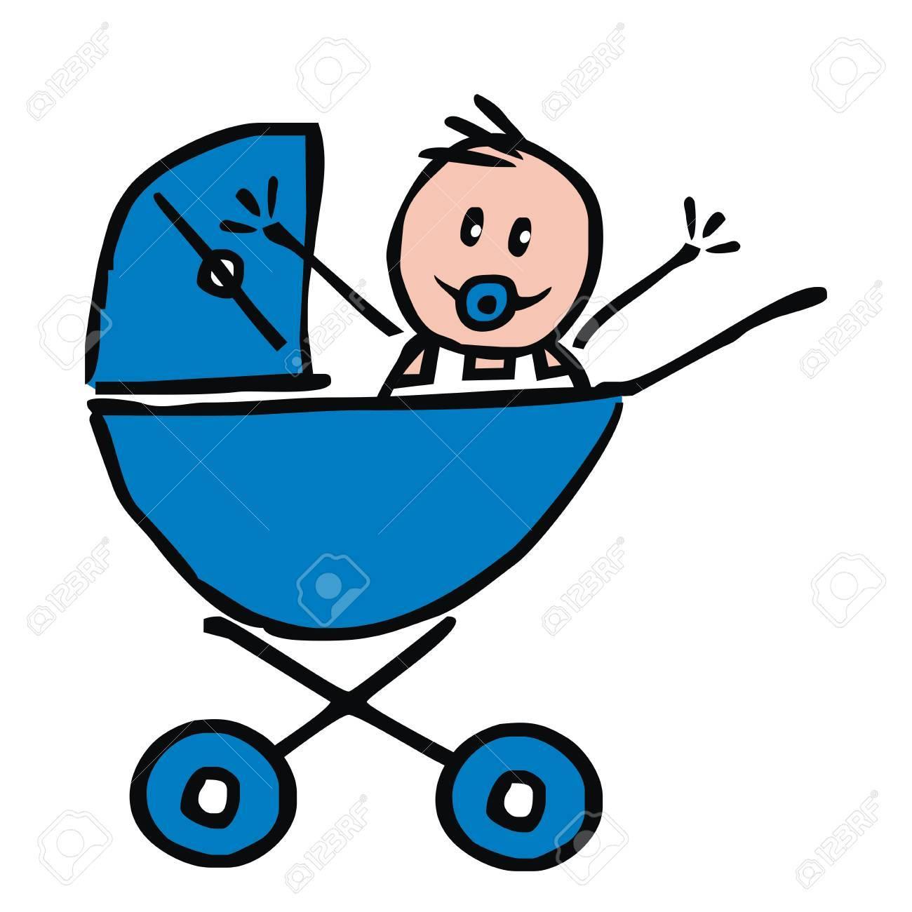Baby boy pram clipart banner download Newborn Boy Pram banner download