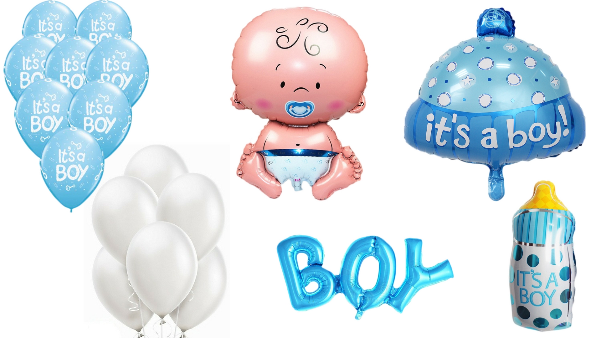 Baby boy shower balloons clipart banner black and white download Giant Baby Boy, It\'s a Boy! Themed Baby Shower Balloon Kit banner black and white download