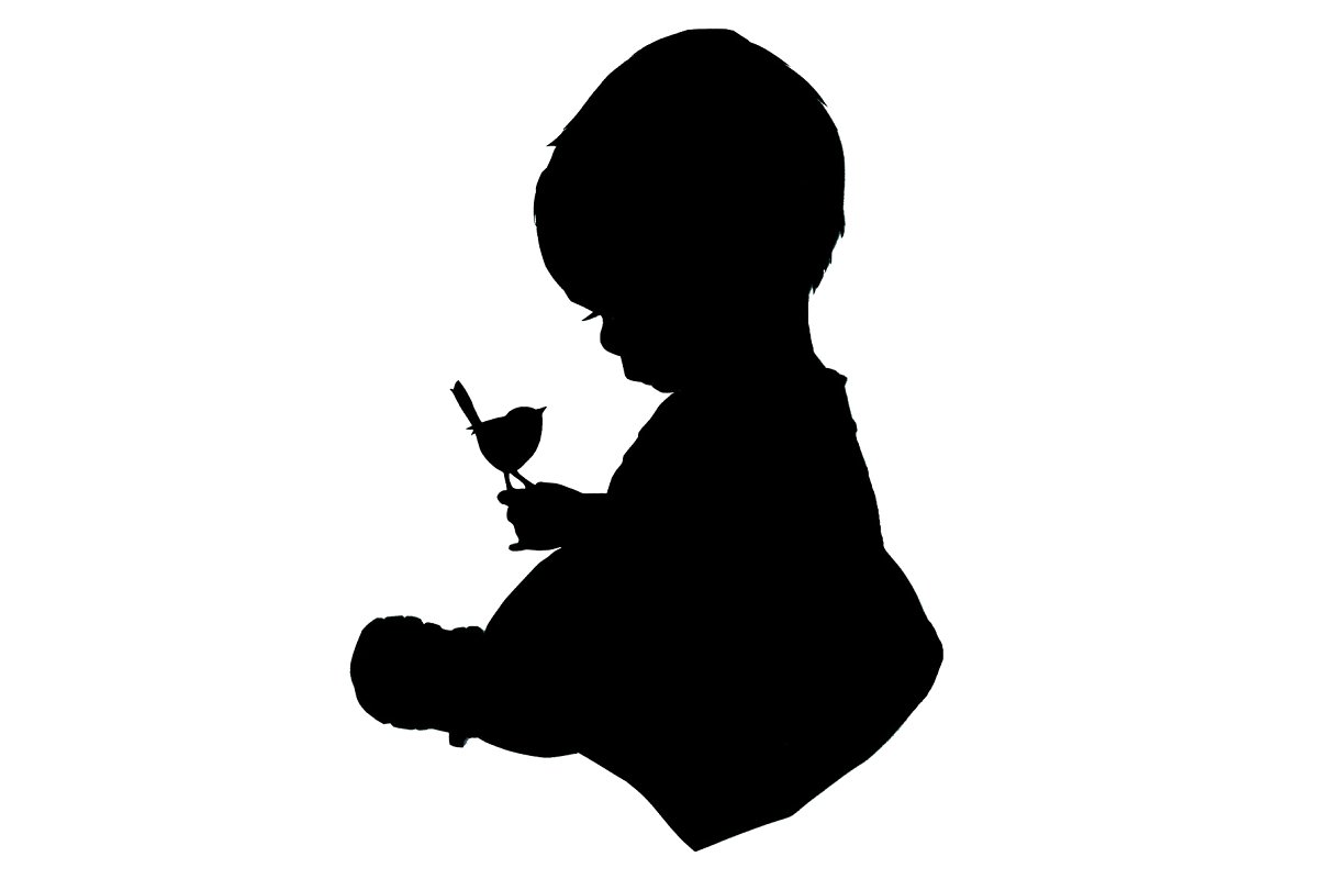 Baby boy silhouette clipart clipart transparent download Silhouette of Baby holding a bird clipart transparent download