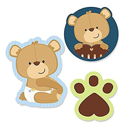 Baby boy teddy bear clipart svg library download Big Dot of Happiness Baby Boy Teddy Bear - DIY Shaped Baby Shower Party  Cut-Outs - 24 Count svg library download
